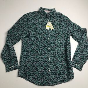 Penguin Darkest Spruce Cotton Dress Shirt Medium